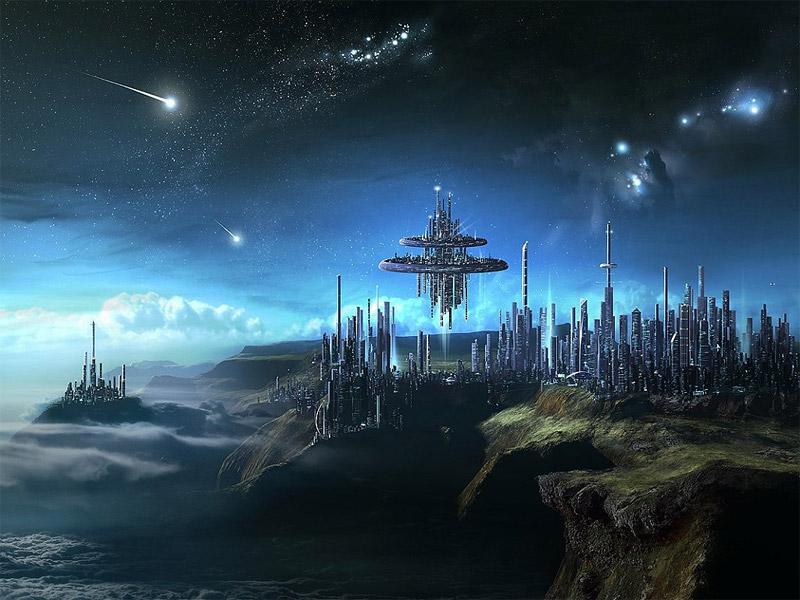 Estás en Fondos > Ciudad en el espacio